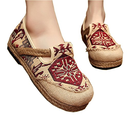 Shoes Retro Shoes Flats by Linen Elaiya Traditional Red Embroidered Straw Woman Embroidery Shoes Fashion Single Bottom Chinese HqAtFRx