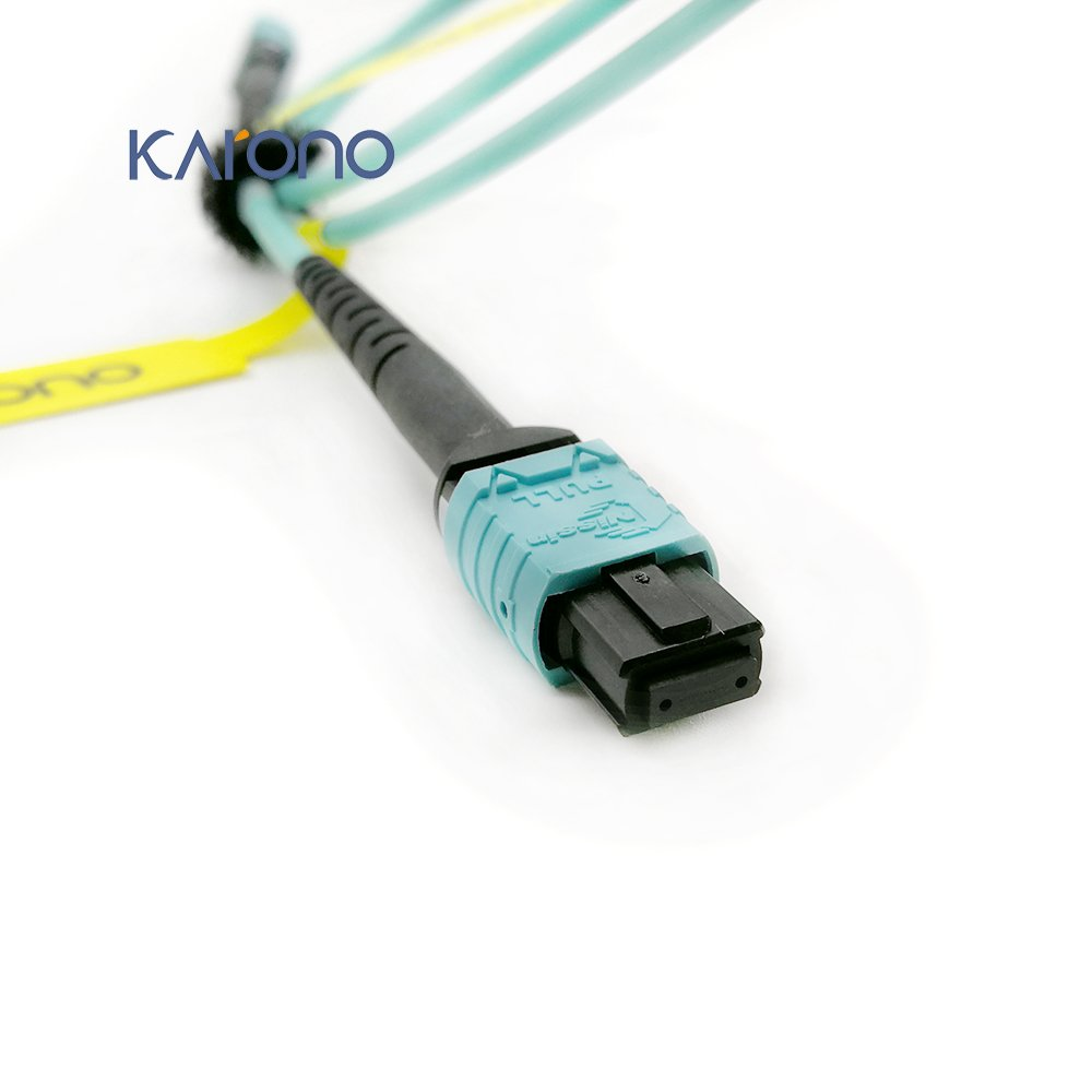 Karono MPO Female to MPO Female Patch Cord, 16.5 ft (5M), 8-core Fibers, Type B, OM3 Multi-Mode Fiber for QSFP+Transceivers MTP Compatible Application, Aqua