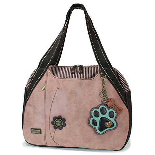 Chala Handbags Dust Rose Shoulder Purse Tote Bag with Dog Key Fob/coin purse (Paw)