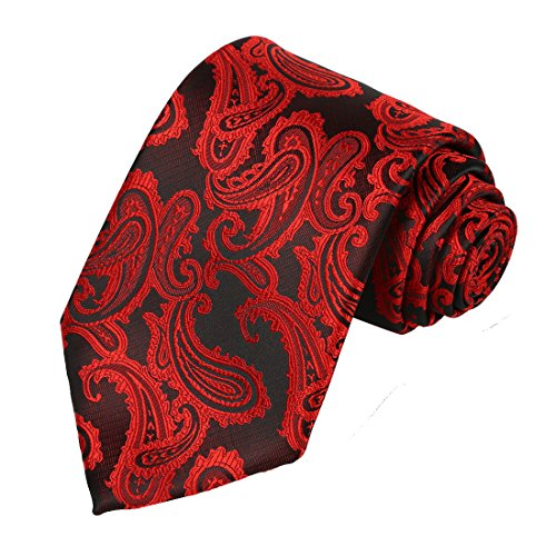 KissTies Burgundy Red Black Tie Paisley Wedding Necktie Valentine Ties