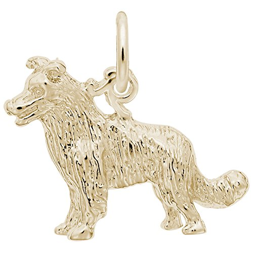 Border Collie Dog Charm In 14k Yellow Gold, Charms for Bracelets and Necklaces