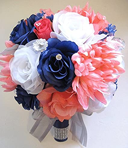Amazon 17 Pcs Wedding Silk Flower Bouquet Bridal Package Coral