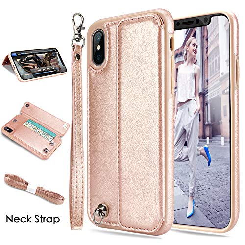 iPhone X Case,iPhone XS Case,iPhone X&XS Wallet Case, CASEOWL iPhone X&XS Case Wallet Leather Flip Card Slot Holder,Wristlet,Neck Strap,Kick-Stand,Shockproof Slim Case for iPhone X/XS/10/10S-Rose Gold