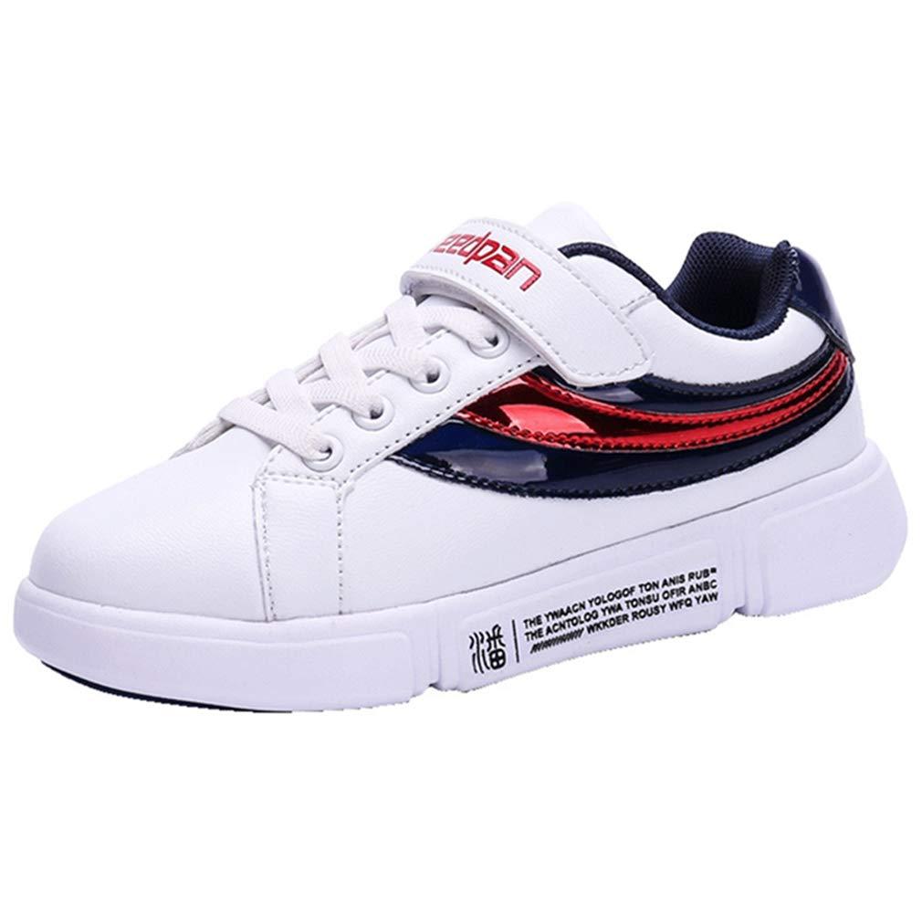LGXH Waterproof Kids Youth Skateboarding Shoes Multicolor Cozy Boys Girls Slip On Skate Bowling-Shoes White Size 1 M US Little Kid