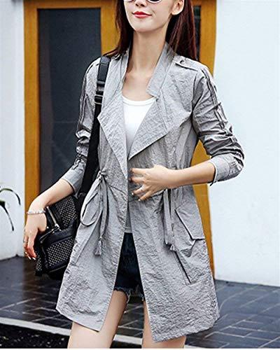 Fit Windbreaker Slim Eleganti Trench Casuale Bavero Autunno Outdoor Grau Lunga Con Coulisse Primaverile Abbigliamento Fashion Manica Giacca Donna Cappotto ZvqARR