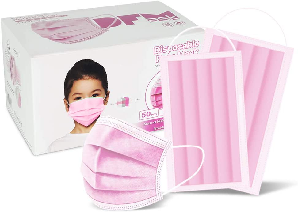 Child 50 Pc (Pink) 3-Ply Disposable Face Mask Earloop Protective Mouth Cover- Pink for Kid