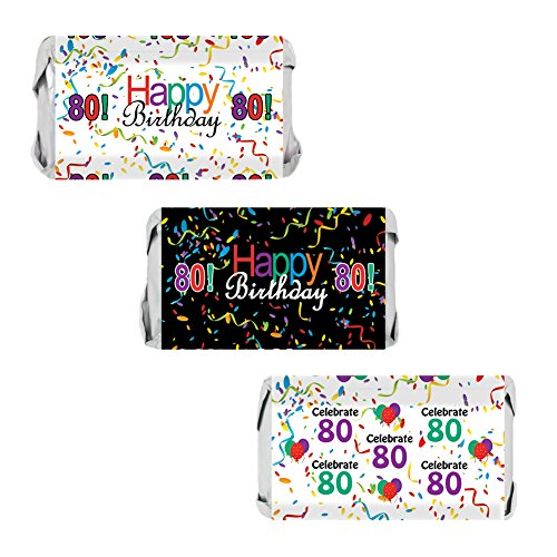 80th Birthday Party Favors - Miniatures Candy Bar Wrapper Stickers - Multi-Colored (54 Count) Theme Candy Wrappers