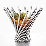 Unique Design Stainless Steel Rotating Fruit Basket,14.5Inchx10.5Inch Decorative Snacks Bread Holder,Kitchen Supplies Rack,Foldable Personalized Fruit Bowl Gift