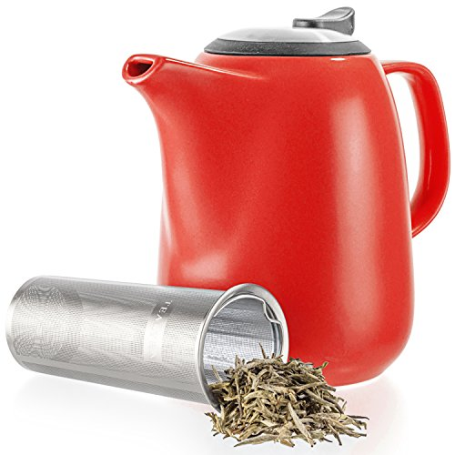 Large Tea Mugs - Tealyra - Daze Ceramic Large Teapot Red - 47-ounce (6-7 cups) - With Stainless Steel Lid Extra-Fine Infuser for Loose Leaf Tea - 1400ml