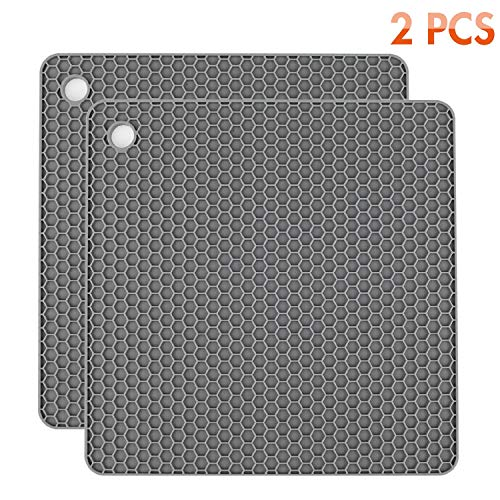 Tonmidej Silicone Pot Holders 2 Pack, Silicone Hot Pads, Heat Insulation Table Mats For Family Use - HB-GJD/Grey/2 Pcs
