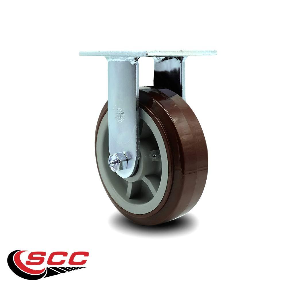 Service Caster - 6'' Heavy Duty Polyurethane Wheel Caster Set of 4 - with 2 Rigid/2 Swivel w/Top Locking Brakes - Non Marking - 750lbs/caster by Service Caster (Image #5)
