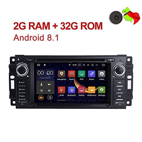 """MCWAUTO Android 8.1 Car Stereo GPS DVD Player Compatible Dodge Ram Challenger Jeep Wrangler JK Head Unit Single Din 6.2"""" 2G RAM+32G ROM Indash Radio Receiver with Navigation Bluetooth/3G/Rear Camera (Chrysler Car Jeep Dodge Radio)"""