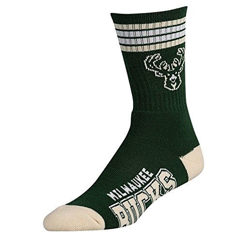 fan products of For Bare Feet NBA 4 Stripe Deuce Crew Men Socks-Milwaukee Bucks-Large (10-13)