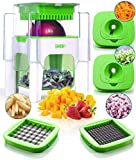 4-in-1 Vegetable Chopper for Onion, Potato, Veggie, Fruit – French Fry Cutter, Dicer, Spiralizer (Green)
