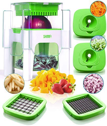 4-in-1 Vegetable Chopper for Onion, Potato, Veggie, Fruit - French Fry Cutter, Dicer, Spiralizer (Green)