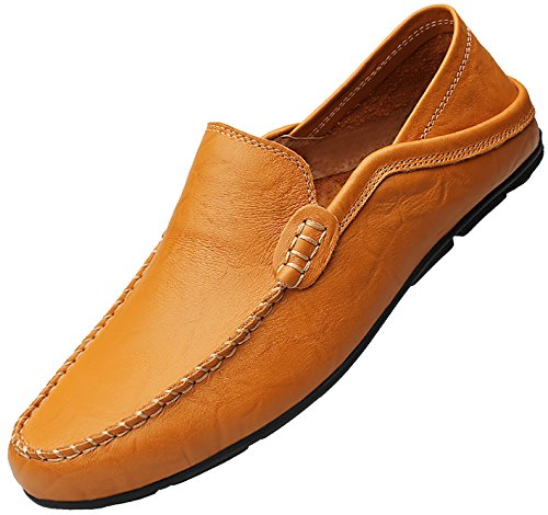 (Go Tour Men's Driving Shoes Premium Genuine Leather Fashion Slipper Casual Slip on Loafers Shoes 41 (1-Yellow Brown))