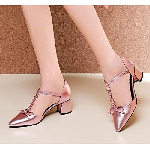 Heel MUMA del talón Summer Hollow Bow Media Tamaño 5 Silver EU38 UK5 Sandalias CN38 Pink Wedge Pink Pink de Punta tacón Color Zapatos 7rWwq4vf7