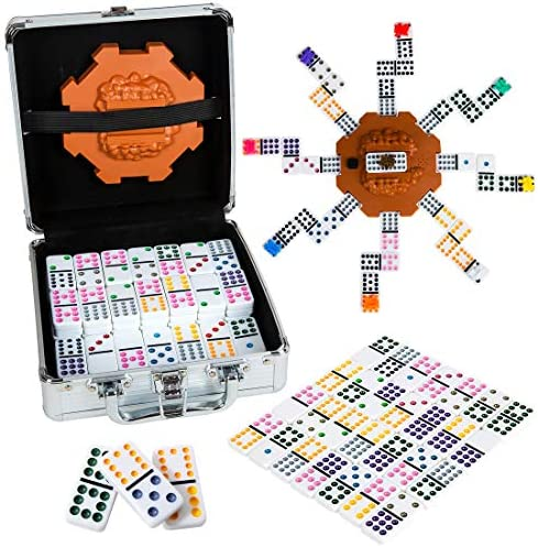 Tocebe Dominoes Set Mexican Train Dominoes for Travel 91 Tiles Mexican TrainAluminum Case for Kids and Families