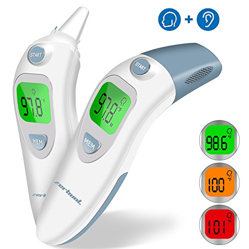 Baby Digital Forehead Ear Thermometer - Zerhunt Medical Infrared Temporal Fever Thermometer With More Accurate Instant Read For Toddler Infant Kids Children Adult