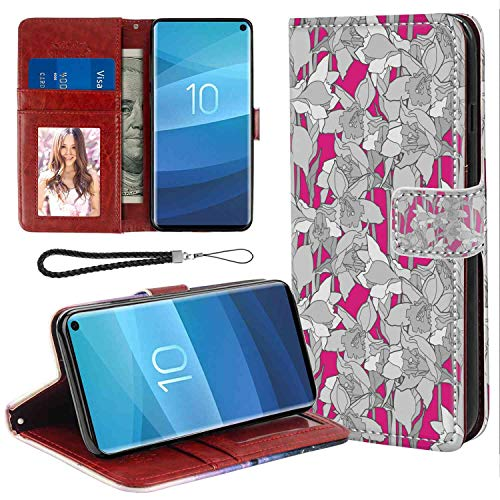 Daffodil Ornament - Samsung Galaxy S10 Wallet Case, Floral Grungy Curved Flower Ornaments with Retro Petals Leaves Daffodil Design Art Grey and Fuchsia PU Leather Folio Case with Card Holder and ID Coin Slot