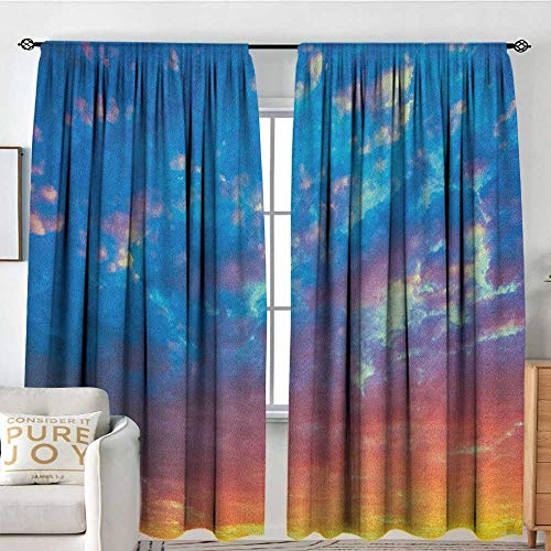 (Blackout Curtains for Bedroom Yellow and Blue,Dramatic Sky Sunset Scenic Cloudscape Idyllic Twilight Eco Picture, Coral Earth Yellow,Darkening and Thermal Insulating Draperies 60