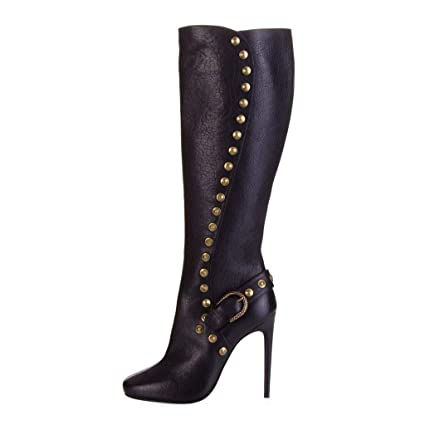 15f2d44e2c3 Studded Knee Boots Pointed High Heel Female Long Tube Fashion Boots Side  Zipper Waterproof Platform Knight