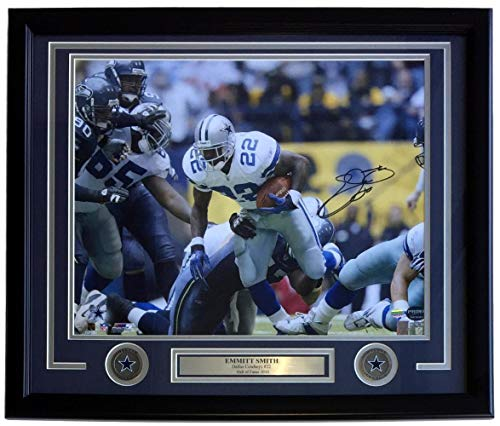 Emmitt Smith Autographed Photograph - Framed 16x20 Rushing Prova+SI - Autographed NFL Photos