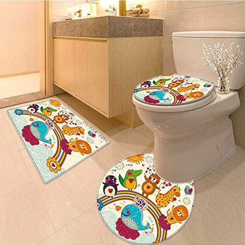 3 Piece Toilet Cover set vector set of funny happy animals greeting card happy birthday 3D digital printing Rug (60x80 Da Mat)