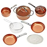Copper Chef Cookware 9-Pc. Round Pan Set –Aluminum & Steel With Ceramic Non Stick Coating. Includes Lids, Frying and Roasting Pans Accessories For Sale