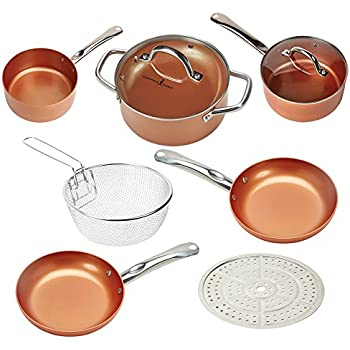 amazon com copper chef cookware 9 pc round pan set aluminum