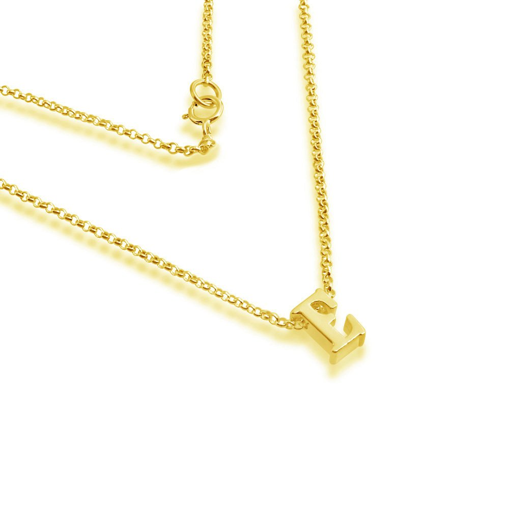 Azaggi Gold Plated Necklace Initial Letter E Pendant Personalized Symbols Letters Serif Font Lobster Claw Clasp .This Gold Plated Sterling Silver Pendant Necklace is the Perfect Charm Jewelry Gift
