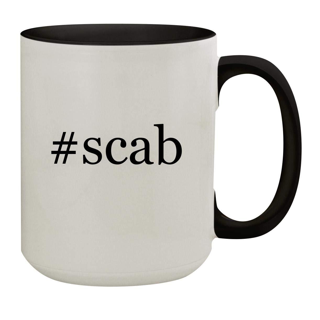 #scab - 15oz Hashtag Colored Inner & Handle Ceramic Coffee Mug, Black