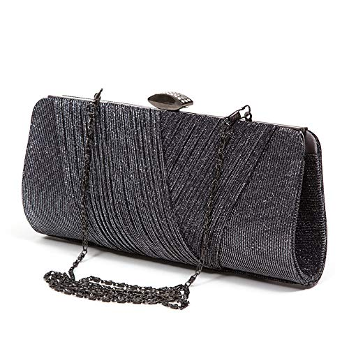 Shirred Glitter Fabric Clutch, JEANBAG PEWTER (Pewter Fabric)