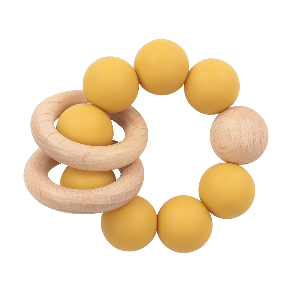 Wooden Baby Teething Toy-Teether Nursing Bracelet Silicone Teething Beads-Food Grade Silicone Molar Toys-Organic Kids Molar Bracelet Made of Natural Wood (Yellow)