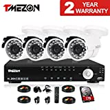 TMEZON 4CH Channel Full 960H Realtime HDMI DVR 800TVL Cameras IR Cut Outdoor CCTV Surveillance Security System P2P Scan Mobile iPhone View Remote Access 1TB Hard Drive