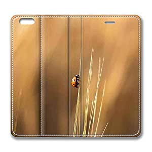 iPhone 6 Plus,Brain114 iPhone 6 Plus [5.5] case,iPhone 6 Plus leahter,leather case for iPhone 6 Plus,Fashion Book Style Design Wallet leather Case Cover for iPhone 6 Plus 5.5 inch Ladybird On A Wheat Stalk