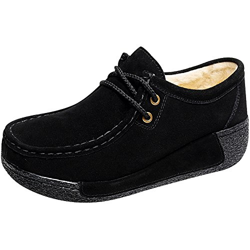 Shenn Dames Sleehak Casual Comfortabel Lace-up Suede Leren Mode Sneakers Black1
