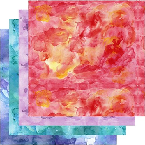 Watercolor HTV, Shades of Red Orange Blue Teal Purple HTV, 4-12x12 Bundle, Free Transfer Sheet