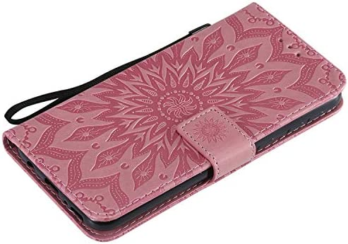 Lomogo Leather Wallet Case with Kickstand Card Holder Shockproof Flip Case Cover for Samsung Galaxy M20 Samsung Galaxy M20 Case LOKTU020033 Pink