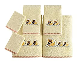 Kids Soft Premium Cotton Bath Towel Set - Made with 100% Pure Combed Cotton - 6 Piece Children Themed Set (Ducks Theme)