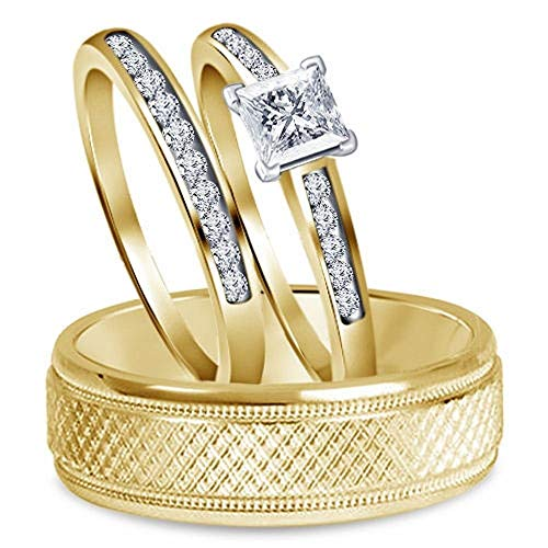Diamond Scotch 14k Yellow Gold Over Mens and Women Trio Set Him and Hers Bride and Groom Wedding Band Engagement Trio - Gold Trio