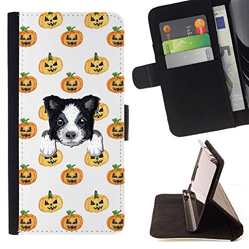 [ BORDER COLLIE ] Embroidered Cute Dog Puppy Leather Wallet Case FOR LG K4 (2017) / LG K8 (2017) / LG Aristo/LG Phoenix 3 / LG Risio 2 / LG Fortune [ Halloween Pumpkins Pattern ] ()