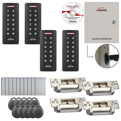 Visionis FPC-7300 Four Door Access Control with Electric Strike Fail Safe Fail Secure Adjustable Time Attendance TCP/IP Wiegand Controller, Black Card Reader and Keypad, 10,000 Users Software Included
