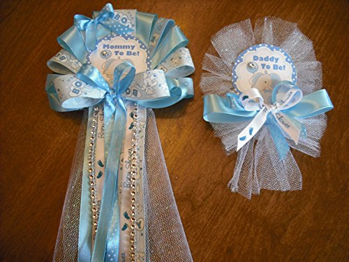 Blue Mommy and daddy To Be Baby shower corsage Elephant Jungle corsage (Mommy To Be Corsage For Baby Shower)