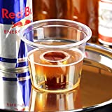 Bomb disparos transparente CE 3oz/85ml–manga de 50–8,5cl Bomb Shot tazas, Bomb Shotz, poliestireno vasos de chupito, vasos de chupito desechables, de plástico vasos de chupito–25ml CE Shot con 60ml Chaser–Ideal para Red Bull & Jagermeister