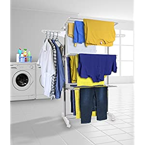 Hyfive Clothes Airer Drying Rack Extra Large 3 Tier Clothes Drying Rail Foldable
