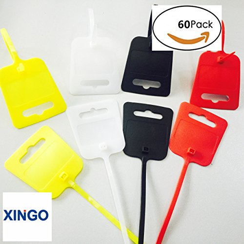 Xingo 10 Inch Nylon Marker Cable Ties with Cable Tag(Red Yellow White Black) (Yellow)