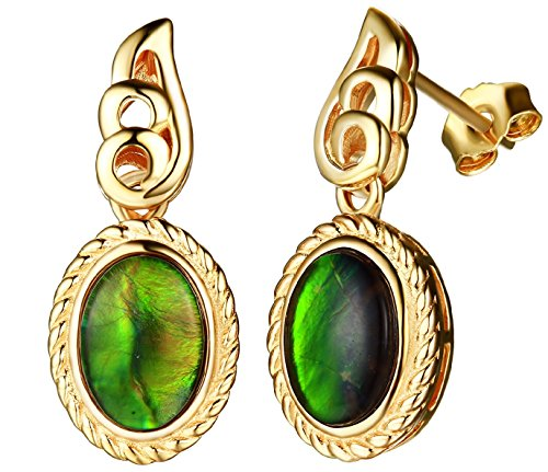 925 Silver oval-shape ammolite dangling earring