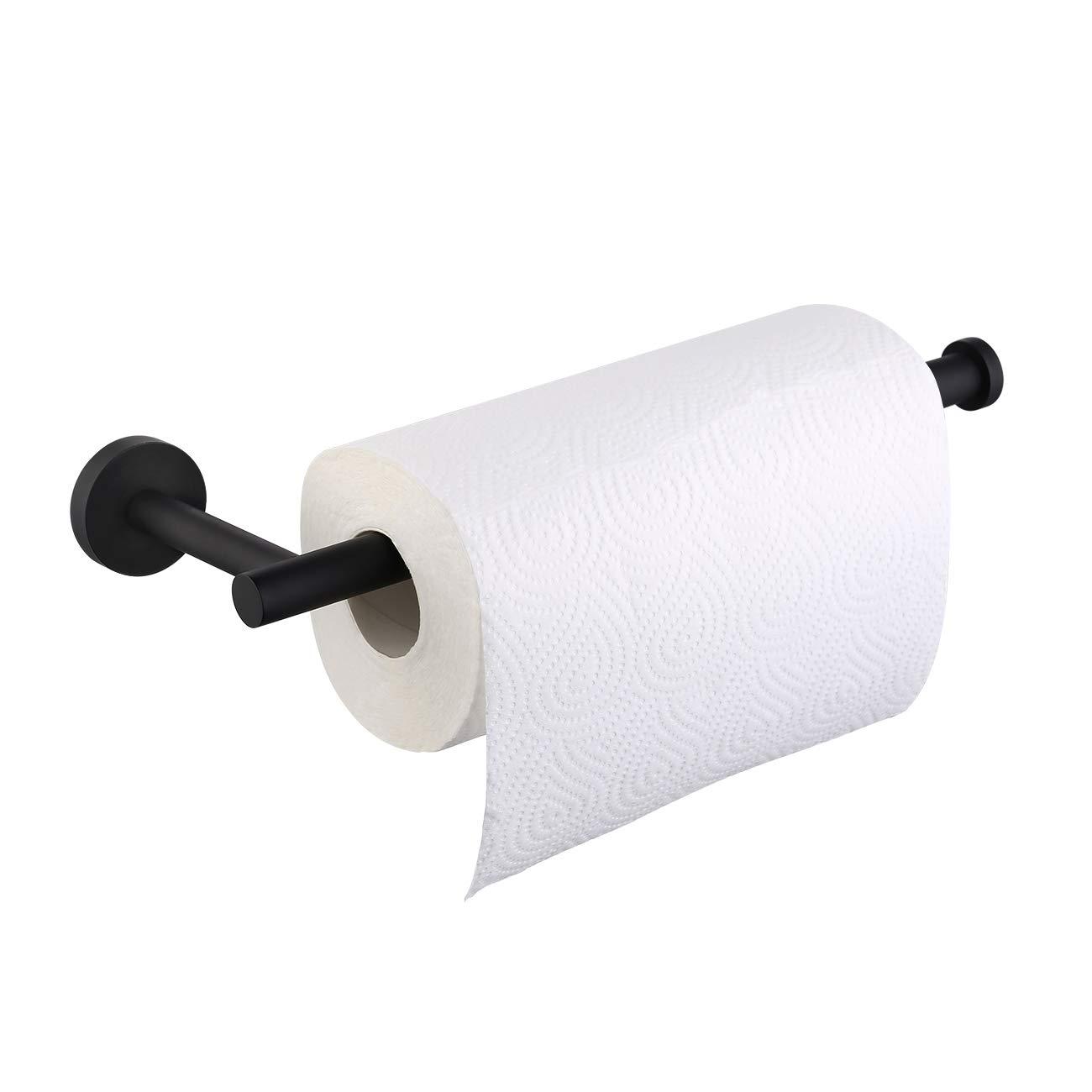 Kes Paper Towel Holder for Kitchen & Bathroom 11 Inch SUS 304 Stainless Steel Paper Towel Holder Dispenser Wall Mount/Under Cabinet Matte Black, A2175S30-BK