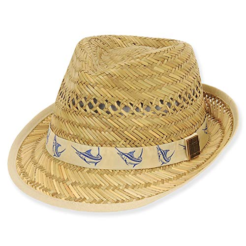 - Guy Harvey Rush Straw Hat w/Marlin Embroidered Ribbon Trim Khaki